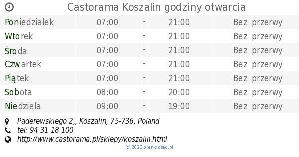 Castorama Koszalin Godziny Otwarcia Paderewskiego 2