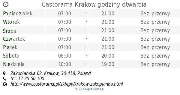 Castorama Krakow Godziny Otwarcia Zakopianska 62