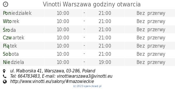 Vinotti Warszawa Godziny Otwarcia Ul Malborska 41